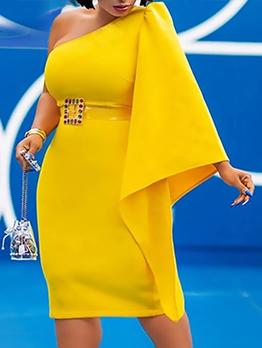 Elegant Solid Inclined Shoulder Party Dress