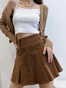 Solid Corduroy Side Zipper Pleated Skirt For Women