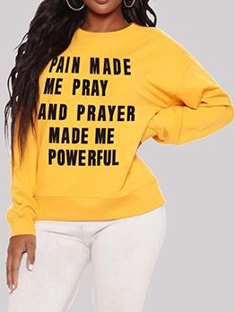Casual Letter Long Sleeve Yellow Sweatshirts