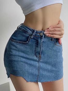 Stylish Versatile High Waist Denim Skirt For Women