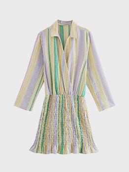 Contrast Color V Neck Long Sleeve Shirt Dress