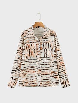 Trendy Leopard Pocket Long Sleeve Blouse For Women