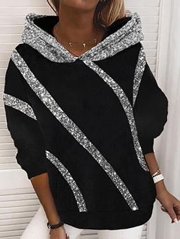 Sequined Design Fall Stylish Women Hoodies