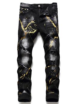 Black Splash-Ink Ripped Jeans For Men