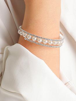 Women Adorable Pretty Rhinestone Faux-Pearl Bracelet