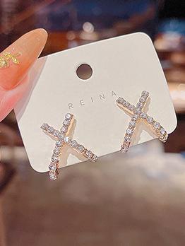 Korean Style Simple Cross Rhinestone Earring
