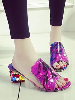 New Rhinestone Chunky Slippers For Women