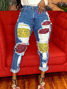 Trendy Contrast Color Print High Waisted Jeans