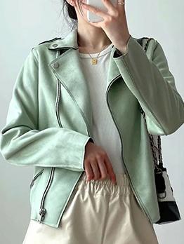Fall Winter Leather Turndown Collar Women Jacket