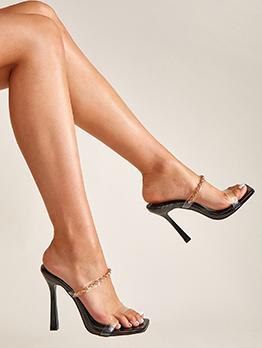 Transparent PVC Metal Chain Square Toe Heel Slippers