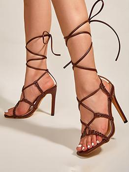 Super High Heel Weave Heels Sandals For Ladies