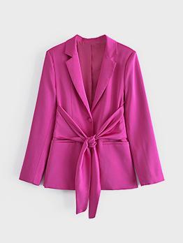 New Fashion Solid Bow Pocket Women Blazer