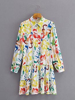 Lovely Printed Ruffles Loose Long Sleeve Shirt Dress