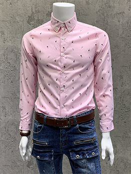 Autumn Latest Style Simple Pink Long Sleeve Shirts