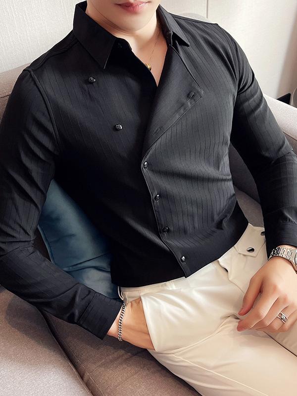 Plain Solid Versatile Fall Plus Size Shirts For Men