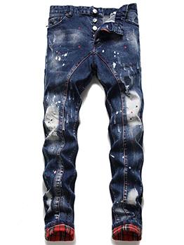 Plaid Patch Trending Fashion Denim Jeans For Men