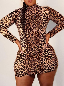 Plus Size Leopard Long Sleeve Mini Dress