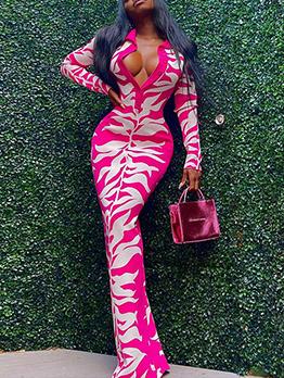 Stylish Print Zipper Up Long Sleeve Maxi Dress