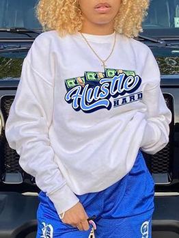 Plus Size Long Sleeve Print Sweatshirt