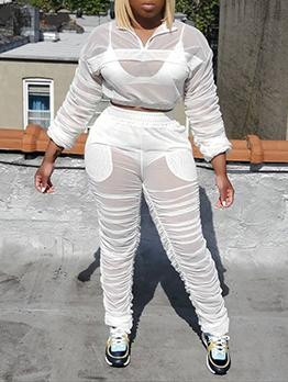 Sexy Transparent Long Sleeve Plus Size Sets
