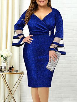 Plus Size V Neck Flare Sleeve Dress