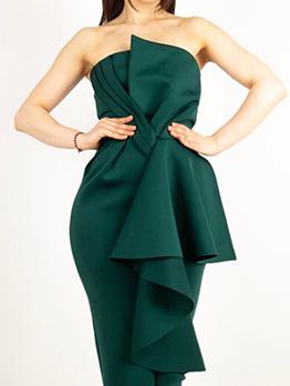 Elegant Solid Ruffled High Waist Strapless Dress