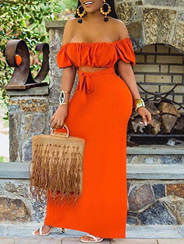 Casual Hollow Out Off The Shoulder Maxi Dress
