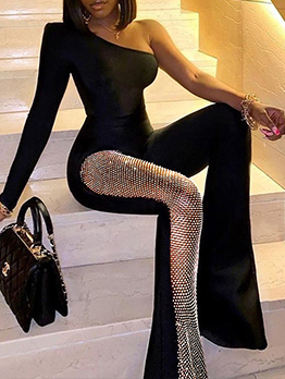 Sexy Designer Patchwork One Shoulder Jumpsuit For Women