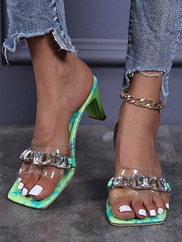 Fashion Square Toe Chain Ladies Slippers