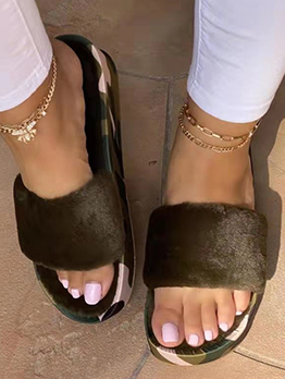 New Faux Fur Wedge Ladies Slippers