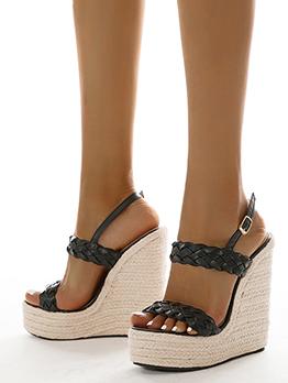 New Roman Style Weaving Wedge Sandals