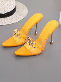 Summer Point Toe High Heels Slippers