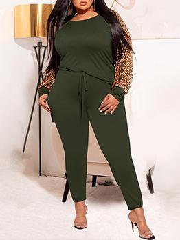 Plus Size Contrast Color Long Sleeve Pants Set