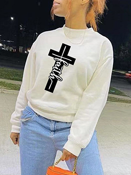 Plus Size Print Long Sleeve White Sweatshirt