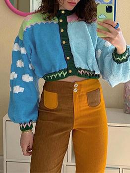Autumn Contrast Color Design Lantern Sleeve Cardigan Coat