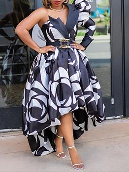 Fashion One Shoulder Plus Size Maxi Dress