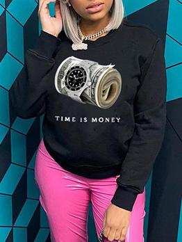 Casual Letter Watch Print Long Sleeve Sweatshirts
