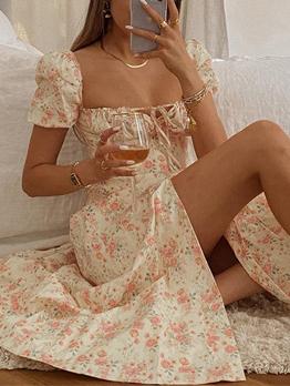Printed Vacation Style Puff Sleeve Midi Dresses