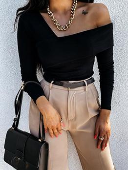 Fashion Inclined Shoulder Long Sleeve T-Shirt For Women