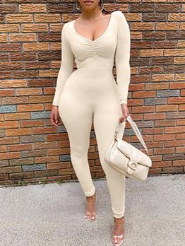 Simple Design Solid V Neck Long Sleeve Jumpsuit