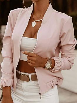 Autumn Stand Collar Zipper Up Solid Women Short Coat