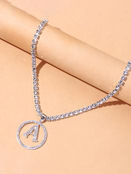 Hip Hop Solid Circle Letter Necklaces