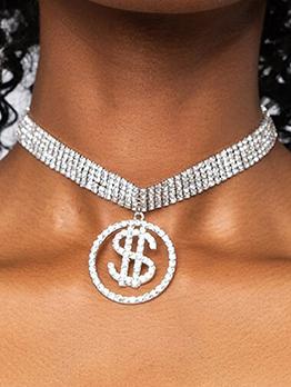 Creative Dollar Circle Multiple Layer Rhinestone Necklaces