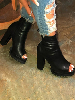 New Black High Heels Ankle Boots