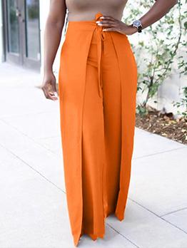 Solid High Waist Wide-Legged Long Pants Women