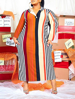 Striped Contrast Color Hooded Collar Plus Size Dress