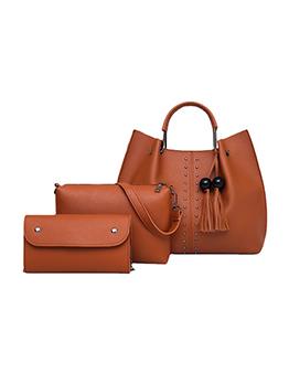 Travel Rivet Pendant Solid Handbag Sets For Women