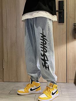 New Letter Wide Leg Jeans For Men