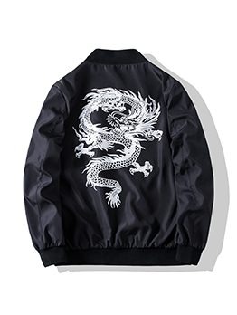 Casual Long Sleeve Print Mens Jacket