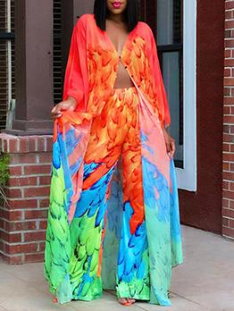 Colorful Casual Loose Plus Size Pant Sets